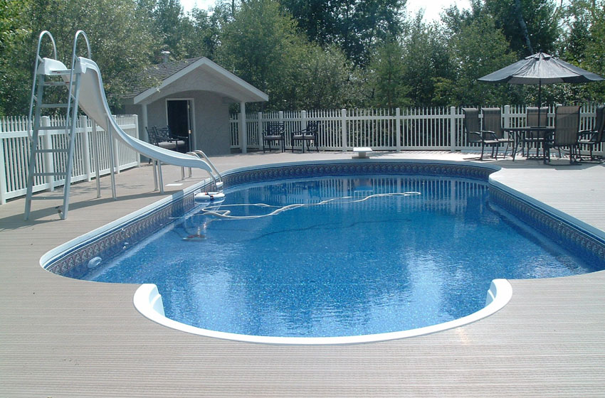 In-ground pool with a slide